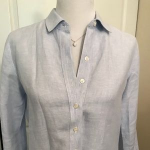 Lord and Taylor light blue linen button-down shirt